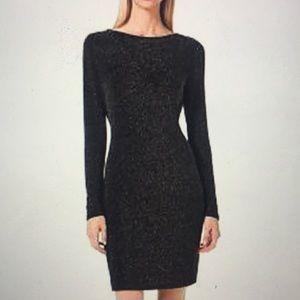 Michael Kors Long Sleeved Metallic Sheath Dress